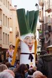Gigant van Calsot tijdens Cal?otada bij straten in Valls Stock Fotografie