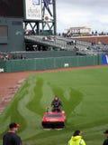 Gigant ziemi przejażdżki wody wieprz przez trawę usuwać wodę out Fotografia Royalty Free