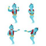 Gigante blu Genie Character Set Vector royalty illustrazione gratis