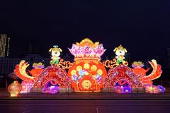 Gigante de rogación de la linterna del festival de primavera de la flor bed-2018 Foto de archivo libre de regalías