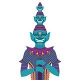 Gigante tailandese del guardiano del tempio, statua del demone della Tailandia Yaksha, simbolo a Bangkok, spirito asiatico di bud Fotografia Stock Libera da Diritti