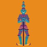 Gigante tailandese del guardiano del tempio, statua del demone della Tailandia Yaksha, simbolo di buddismo a Bangkok, scultura as Fotografie Stock Libere da Diritti