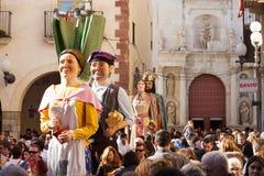 Gigantes во время фестиваля Calcotada в Valls Стоковые Фотографии RF