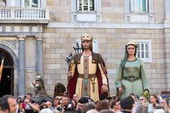 Gigantes durante il festival alle vie a Barcellona Immagine Stock Libera da Diritti