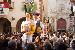 Gigantes pendant l'otada de  de CalÑ à Valls Photographie stock libre de droits