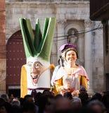 Gigantes tijdens otada van CalÑ  bij straten in Valls Royalty-vrije Stock Foto