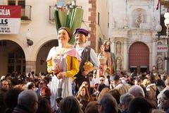 Gigantes under CalÑ otada i Valls Royaltyfri Fotografi