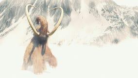 Gigantesco felpudo em uma tempestade da neve, mamífero pré-histórico na paisagem da idade do gelo ilustração do vetor