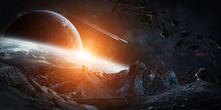Gigantic asteroids about to crash 3D rendering elements of this. Gigantic asteroids in space about to crash on planets 3D rendering elements of this image Stock Photos