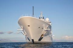 Gigantic big and large luxury mega or super motor yacht on the o Stock Photos