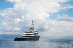 Gigantic big and large luxury mega yacht with helicopter landing Royalty Free Stock Photography