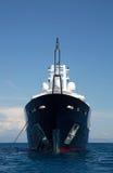 Gigantic big and large luxury mega yacht with helicopter landing Stock Photo