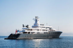 Gigantic big luxury mega or super motor yacht. Investment for mi Stock Images