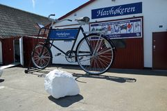 Gigantic Bike at Gilleleje. On the Danish Riviera in North Sealand. Gilleleje is one of the main towns of the Gribskov municipality in Region Hovedstaden in stock image