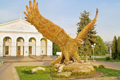 Gigantic eagle. Symbol of city Oryol over the terminal area stock photo