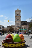 Gigantic easter decoration. Gigantic Easter Box, easter, decoration in front of Lazaros basilica in Larnaka, Cyprus Stock Photography