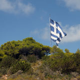 Gigantic greek flag Stock Photo