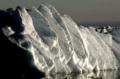 Gigantic ice ripples. Made by melting Stock Image