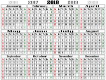 Gigantic 2018 Landscape Calendar 2018. Gigantic 2018 calendar Landscape Oriented with red color for Sunday and green color dor Saturday Stock Photo