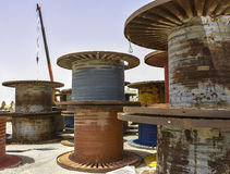 Gigantic Old Reels and Spools Royalty Free Stock Image