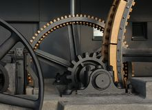 Gigantic old wheels of a cable car Stock Photos