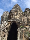 Gigantic stucture with stone face in Cambodia Royalty Free Stock Photography
