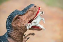 Gigantic tyrannosaurus bites smaller dinosaur Stock Images