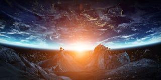 Gigantische asteroïden ongeveer om aarde 3D teruggevende elementen van te verpletteren Royalty-vrije Stock Foto
