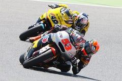 Gigantisk energigrand prix av Catalunya MotoGP Chaufförer Esteve Rabat och ensamvarg Viñales Moto2 Arkivfoton
