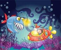 Gigantisk fisk och ubåt Arkivbild