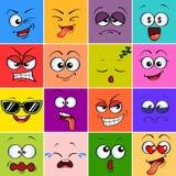 Gigantisk framsida för tecknad film Emoji Gulliga emoticons Fyrkantiga färgrika avatars stock illustrationer