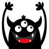 Gigantisk huvudsvartkontur Tre ?gon, tandhuggtand, horn, h?nder upp Roligt tecken f?r gullig kawaiitecknad film lyckliga hallowee stock illustrationer