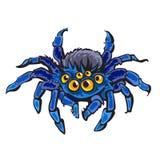 Gigantisk spindel för tecknad film Allhelgonaaftontecken Hand tecknad vektorillustration royaltyfri illustrationer