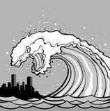 gigantisk tsunami Fotografering för Bildbyråer