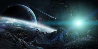 Gigantiska asteroider omkring som kraschar beståndsdelar för tolkning 3D av denna royaltyfri illustrationer