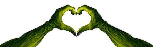 Gigantiska händer i en hjärta Shape Arkivbild