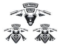 Gigantiskt motorcykelkapacitetsbegrepp illustration 3d Royaltyfri Bild