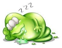 Gigantiskt sova för greenslime Arkivbild