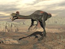 Gigantoraptor dinosaur in the desert - 3D render Stock Photo