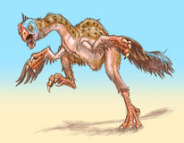 Gigantoraptor dinosaur running. The original angry bird. An agitated gigantoraptor dinosaur runs toward the viewer, flapping its wings or arms. A gigantoraptor stock illustration