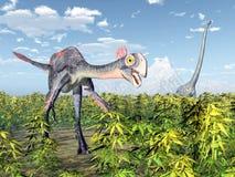 Gigantoraptor e Mamenchisaurus Immagine Stock