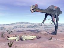 Gigantoraptor femenino que va a su jerarquía - 3D rinden Imágenes de archivo libres de regalías