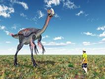 Gigantoraptor and Tourist. Computer generated 3D illustration with the Dinosaur Gigantoraptor and a reckless Tourist Stock Photo