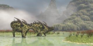 Gigantspinosaurus Dinosaurs Royalty Free Stock Images