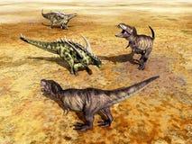 Gigantspinosaurus and Tyrannosaurus Rex Stock Image