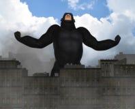 Gigantyczna goryla najeżdżania miasta fantazi ilustracja Obrazy Royalty Free
