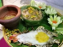 Gigantyczna rzeczna krewetka z chili kumberlandem, Tajlandzki jedzenie fotografia stock