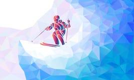 Gigantyczna Slalomowa Narciarska setkarz sylwetka również zwrócić corel ilustracji wektora royalty ilustracja