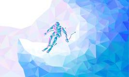 Gigantyczna Slalomowa Narciarska setkarz sylwetka również zwrócić corel ilustracji wektora Obraz Stock