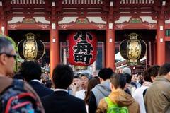 Gigantyczny czerwony lampion w Senso-ji świątyni Obrazy Royalty Free